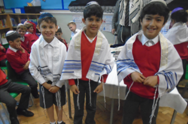Children dressing to celebrate a Jewish festival