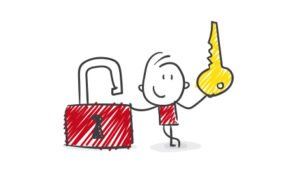 Cartoon character holding the key to an open padlock