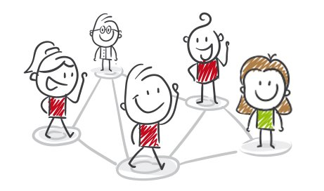 Cartoon Teaching staff in linked grid