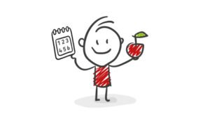 Cartoon character holding a calendar and an apple