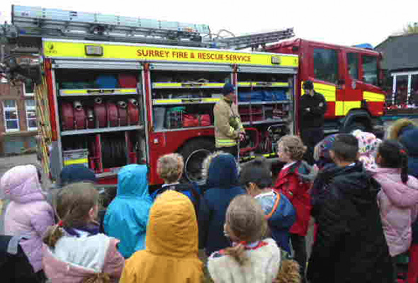 Surrey Fire Service visit at Sandfield
